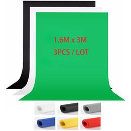 Backdrops bleu en Ligne-3pcs / lot 1.6x3m gris bleu blanc noir studio de photographie écran vert clé chroma fond toile de fond pour l'éclairage de studio photo