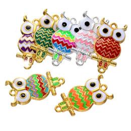 Wholesale Enamel Owl - 300pcs 34*17mm 9 colors alloy gold silver tone owl bird charms jewelry enamel owl charms pendant for bracelet necklace diy