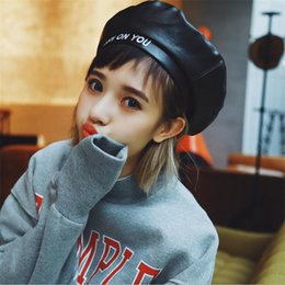 Wholesale Korean Style Hats For Women - DoreenBow Fashion PU Leather Beret Hat For Women Winter Warm Letters Hats Girls Casual High Quality Chic Korean Punk Style