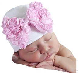Wholesale blue baby hat - Baby Crochet Bow Hats Cute Baby Girl Soft Knitting Hedging Caps with Big Bows Autumn Winter Warm Tire Cotton Cap For Newborn BH120