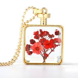 medalha de prata quadrada Desconto 8 ESTAÇÕES de vidro transparente medalhão medalhão colar de prata cor de ouro vermelho amarelo quadrado secado flor 60 cm (23 5/8