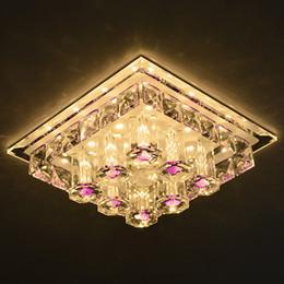 Luminarias de techo industriales online-Lámpara decorativa moderna del techo del pasillo de la entrada del accesorio de luz cristalina llevada cuadrada del techo
