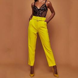 1343e8d5f clássico senhoras calças Desconto Mulheres OL Correia Calças Retas Elegante  Cor Sólida Escritório Clássico Calças de
