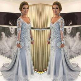 2018 mãe dos vestidos de noiva v neck sheer mangas compridas sereia rendas apliques beads sweep trem longo plus size vestidos de festa à noite de
