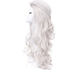 Wholesale Dragon Wig - Z&F 28 inch Mother of Dragons Cosplay Wig Daenerys Wig White Silver Long Wave Wigs Hair Costume