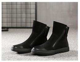 Hiver élégant en cuir noir charme en métal à glissière hommes court Martin bottes à bout plat talon plat bottes de moto ? partir de fabricateur