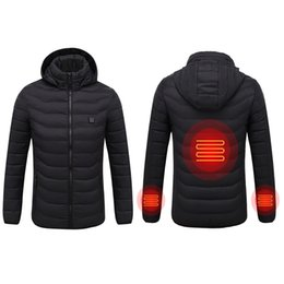 new thermostat Promo Codes - Men New Winter Warm USB Infrared Heating Winter Jacket Men Smart Thermostat Pure Color Hooded Heated Parkas Warm Jacket