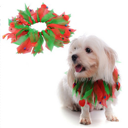 Wholesale merry christmas ribbon - Neck Strap Dog Clothes Pet Merry Christmas Decoration Collar Halloween Coloured Ribbon Hats Cats Neckes Ring Scarf 6 5mq gg