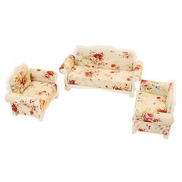 1:12 modelo de móveis de casa de bonecas sala de estar sofá set -3 pcs sofá rosa cheap living furniture sets de Fornecedores de conjuntos de mobiliário