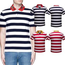 Wholesale V Neck Tee Shirts Men - Cotton designer Polo T-shirts Embroidered Collar Snake Bee Italy Brand Stripes t shirts Mens Slim tee shirts Lapel Short Sleeve poloshirts