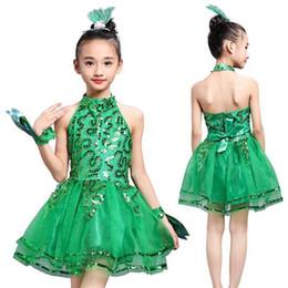 2019 vestidos de tutú verde Nueva Veil Girl Ropa de baile latino Niños Vestidos latinos Estudiantes Tutus verde con lentejuelas Trajes de baile de escenario con flores de regalo rebajas vestidos de tutú verde
