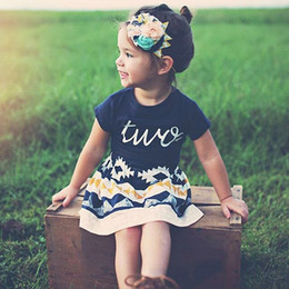 Wholesale Vintage Baby Outfits - Kids Clothing Set Baby Clothes for Girls Vintage Print Summer Boutique Fashion Children Toddler Outfits Tshirt Skirt