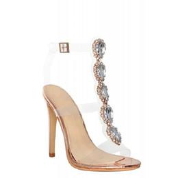 Sapatas do gladiador do diamante on-line-Sexy Pvc Gladiador Transparente Sandálias Mulher Toe Aberto Strass Diamante Claro Sapatos de Salto Alto Mulheres Botas de Verão
