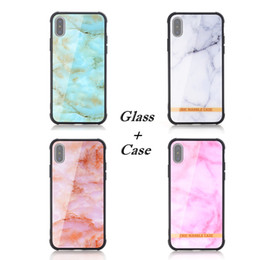 Wholesale Wholesale Stone Edging - 2018 New Arrival Fashion Marble Stone Glass Phone Cases for iPhone X 6 7 8 Soft TPU Edge Shockproof Tempered Glass Back Cover