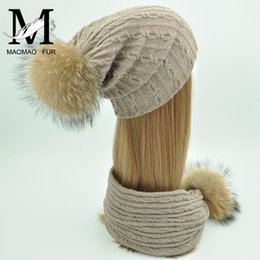 Wholesale real fur suits - Women Hat and Scarf Set Wool Knitted Hat Real Big Fur Pom Pom Female Winter Scarf Fur Cap Parental Suit