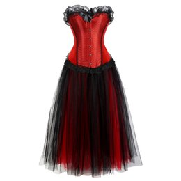 Jupe cosplay rouge en Ligne-corset robe longue cosplay costume taille plus jupe en mousseline de soie set réservoir lacets overbust corsets bustiers tops lingerie sexy vintage rouge