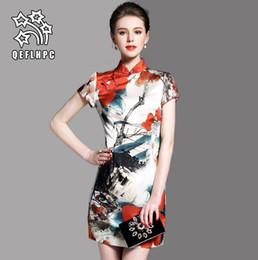 Wholesale cheongsam mini skirt - Women's Wear. Dress. Chinese style. Flower. Cheongsam. 100% polyester material. Short skirt. Luxury. Women's Clothing. Short sleeve.AOL60306