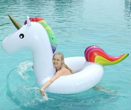 Wholesale beach toys for adults - Wholesale summer unicorn inflatable water rafts float swimming pool beach toys for adult man girls women