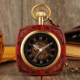 2019 holz handuhr Exquisite hölzerne Taschenuhr Unisex Vintage Hand Wind mechanische Uhren Square Holz Anhänger PocketWatch reloj de bolsillo günstig holz handuhr