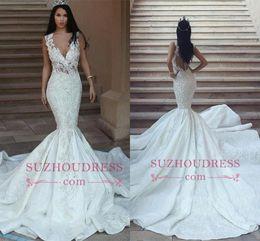 vestidos novia dubai Promotion Dubaï arabe 2018 robes de mariée sirène profond col en V appliques en dentelle dos ouvert longues robes de mariée train robes de mariée robes de mariée