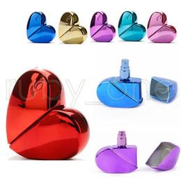 Perfume em forma de coração on-line-6 cores 25 ml Forma de Coração Spray de Perfume Atomizador Recarregáveis Parafuso Bomba Pescoço Pulverizador Grosso Garrafas De Vidro Caixa de Sacos AAA605 600 pcs