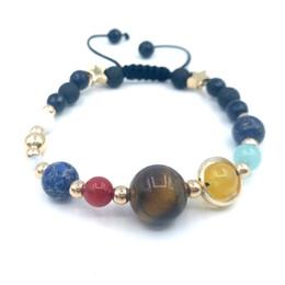 JLN Fashion Universe Galaxy Bracelet Good Plating Otto pianeti Sistema solare Guardian Star Bracciale in pietra naturale per donna Uomo da braccialetto solare fornitori
