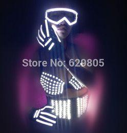 студия лазерных стекол Скидка 2016 горячие женщины ds электронный led лазерный светоизлучающих DJ певица костюм реквизит бюстгальтер ремень очки перчатки для сценического исполнения