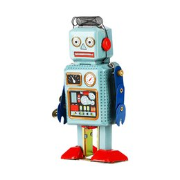 Wholesale Doll Toy Wholesale - Robot Mechanical Clockwork Wind Up Toys Vintage Walking Radar Robots Tin Toy with Key Retro Metal Doll for Child Gifts