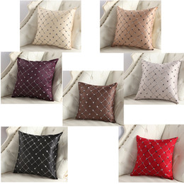 Wholesale elegant cushions - sew flower embroidered plaid pillowcase elegant skin delicate cushion cover sleek minimalist soft pillow case fashionable DDA696