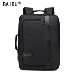 Wholesale Big Satchel - BAIBU 2018 NEW Men Backpack Waterproof Letters Big USB Charging School Bags For Teenagers Student Travel Laptop Backpack