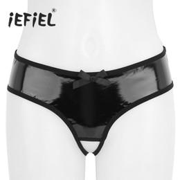 donne wetlook Sconti Donne Lingerie Wetlook Ecopelle Crotchless Open Back Jockstrap A vita bassa Bikini Slip Intimo Donna Sexy Mutandine