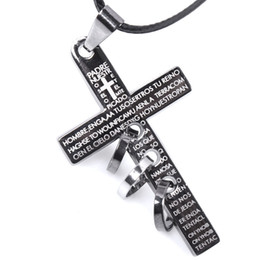 Wholesale Mens Stainless Steel Cross Pendants - 2018 New Retro Men Cross Leather Cord Titanium Steel Chain Necklace Fashion Antique Design Mens Jewelry Wholesale
