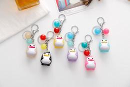 Wholesale Penguin Key Chain - Penguin Keychains Cute For Girls Trinkets Pendant Jewelry Key Chains Women Lovely Bag Phone Charm Key Ring Holder 12pcs Set D539L