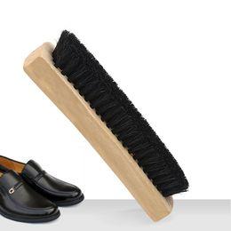 satin en bois Promotion Brosse à chaussures en bois Brosse à chaussures Satin Renovation Cheveux Chaussures en cuir Brosse de nettoyage Chaussures à lisser