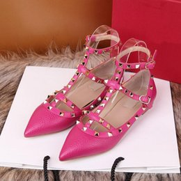 Wholesale Designer Ladies High Heel Shoes - European brand shoes Fashion Litchi pattern Leather Flat Shoes Ladies Designer Sandals High quality leather shoes with box