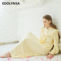 fa3ec82aec Autumn Sexy Long Sleep Lounge Cotton Sleepwear Female Home Dress Lace  Princess Vintage Nightgown Women Sleeping Dress  L3