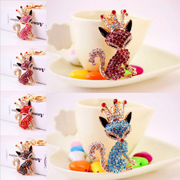 Wholesale Key Chain Crown - Creative Gift Exquisite Fox Queen with Crown Pendant Keychain Purse Key Chain Pendant Accessories 5 Styles Free DHL D982Q