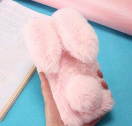 Wholesale Cover Grey Hair - Rabbit Ear 3D Rabbit Hair Case For Huawei Y9 2018 P Smart Enjoy 7 Plus V10 Mate 10 Pro 9 Bling Diamond Fluffy Fur Cover Soft TPU Gel Skin