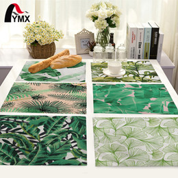 Wholesale Green Kitchen Table - Wholesale- Green Leaves Pattern Table Mat Kitchen Decoration Placemat Table Napkin For Wedding Dining Accessories Table Mat