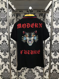 Wholesale Garter Xl - Spring luxury Italy T-shirt tee Polo High street cat embroidery garter fashion clothing Brand polo shirt