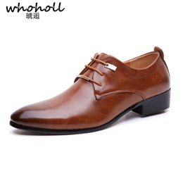 Canada WHOHOLL Hommes Chaussures En Cuir Chaussures Habillées Chaussures Style Britannique Lace Up Toe Toe Bas Appartements Hauts 2 Couleurs Grande Taille 38-48 supplier dress shoe lace styles Offre