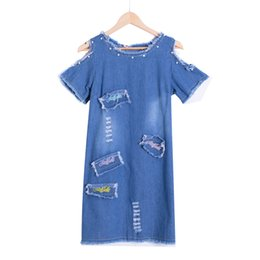 Canada Sexy Perlé Denim Robe Femmes Vintage Une Ligne De Broderie Patchwork Robe De Plage De Plage Robes Courtes Bleu D74902J D1891306 cheap short dress beaded embroidery Offre