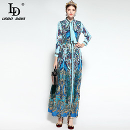3f1e973895bb LD LINDA DELLA Modedesigner Runway Maxi Kleid Damen Langarm-Bowknot Tie  Blumendruck Drapierte Plissee Vintage langes Kleid