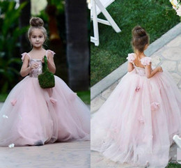 Wholesale juniors ball gowns straps - 2018 Pink Blush flower girl dress Spaghetti straps junior bridesmaid ball gown kid birthday prom party pageant dress
