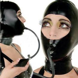 Gags infláveis on-line-2018 novo exótico Hot Sexy Lingerie mulheres negras de Látex Hoods Zentai Máscara Com Zíper de Volta Uniforme Fetiche Capuz gag Inflável