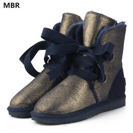 2019 mulheres da forma botas de couro MBR Austrália Clássico de Alta Qualidade Moda Feminina Lace Up Botas de Neve de Couro De Couro Genuíno Botas de Inverno de Pele Quente Mulheres Botas mulheres da forma botas de couro barato