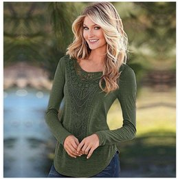 Wholesale Khaki Lace Long Sleeve Top - 2018 Summer Womens t shirts Tops Tees Spring lace Flowers collar shirt with long sleeves Black Green khaki color