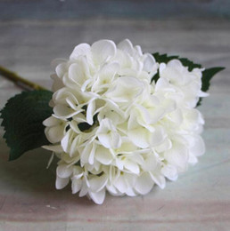 Wholesale Lighted Centerpieces - Artificial Hydrangea Flower 47cm Fake Silk Single Real Touch Hydrangeas for Wedding Centerpieces Home Party Decorative Flowers GA15