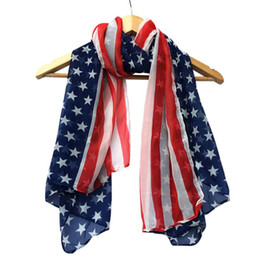 chiffon neckerchiefs Promo Codes - women United States flag scarf girl neckerchief Fashion Soft Silk Chiffon lenco feminino American Flag Scarf Scarves muffler