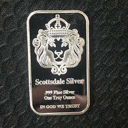 giocattoli di bilanciamento del metallo Sconti 5 pezzi Non magnetico L'American Scottsdale testa di leone barra d'argento lingotto lingotto lingotto 50 mm x 28 mm decorazione del pacchetto vuoto moneta